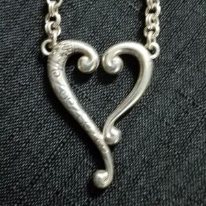 Brighton Tuscan Silver Etched Heart Pendant 18""
